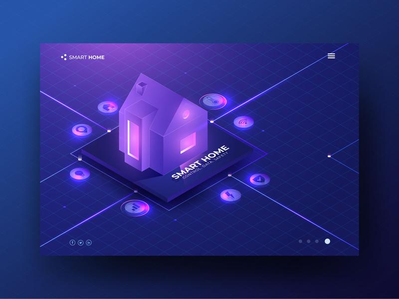 Smart Home Header Concept illustration modern gradient isometric home smart