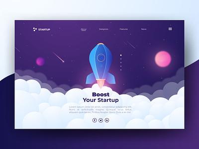 Startup Header Concept web modern gradient stars boost takeoff space rocket header website