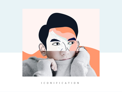 Iconification photo iconification gentle colors man graphic design illustration