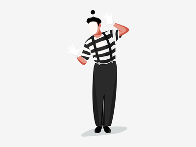 French Mime minimal pantomime performance artist clown mime illustration