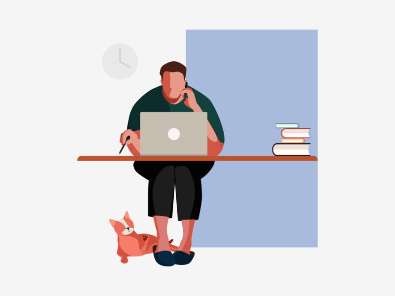 Work office man cat working process individual work work illustration