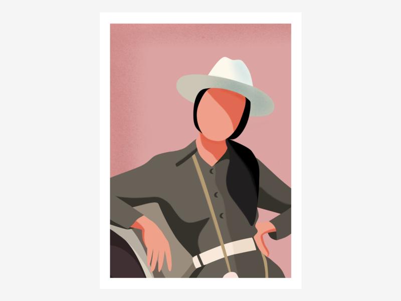 Portrait safari woman character portrait illustration
