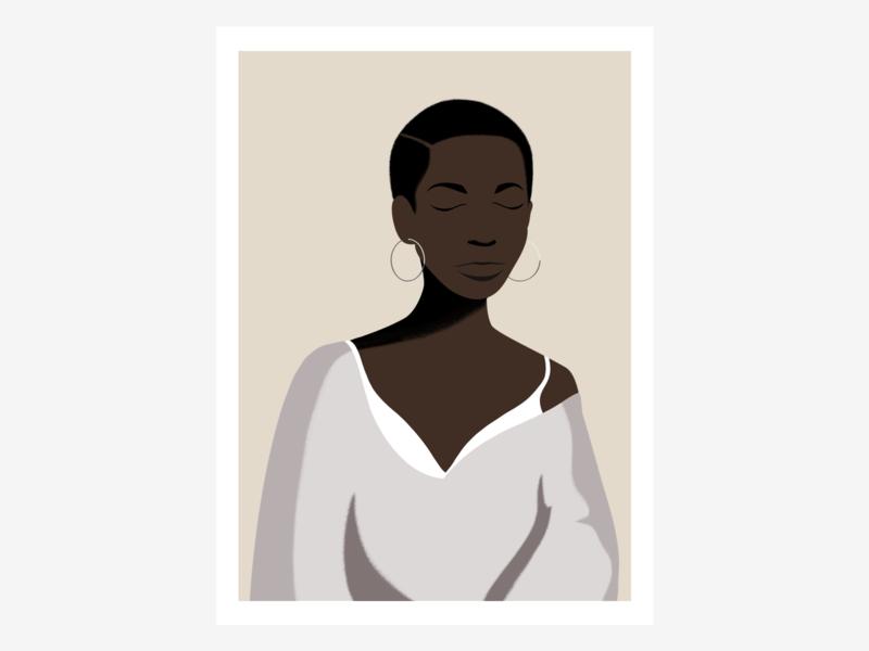 Black is Beautiful 🖤 flat gray beautiful portrait black woman illustration