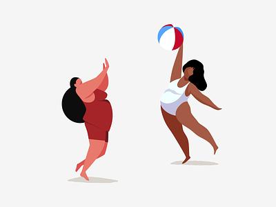Volleyball fun friends summer character woman game play beach beach ball volleyball