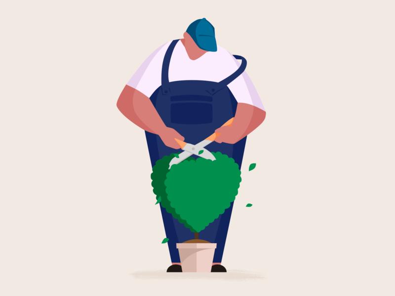 Gardener 1 plant care love tree man character design character illustration