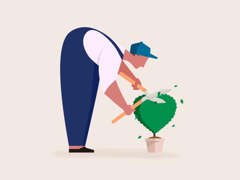 Gardener 2 gardener character design man tree love care plant character illustration