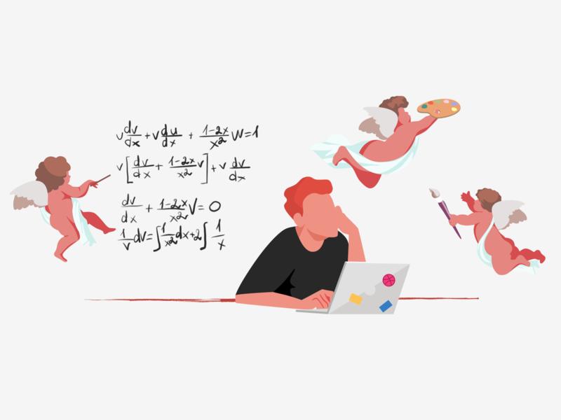The Creation Of Design  #2 vector work ux ui art laptop man angels creative design character illustration