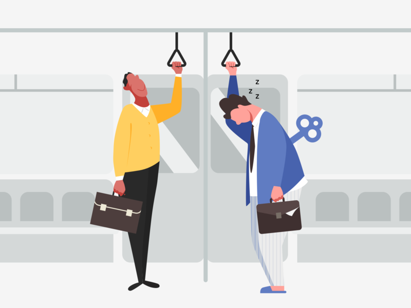 Subway sleepy man not a morning person morning person work morning subway characterdesign character illustration