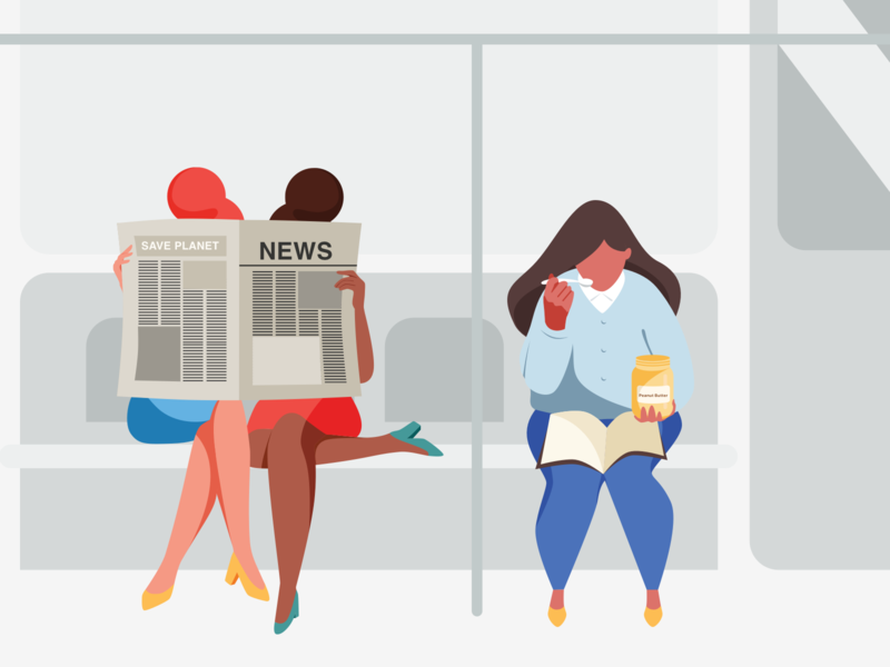 Subway  2 morning ladies peanut butter public transport studying reading newspaper work subway characterdesign character woman illustration