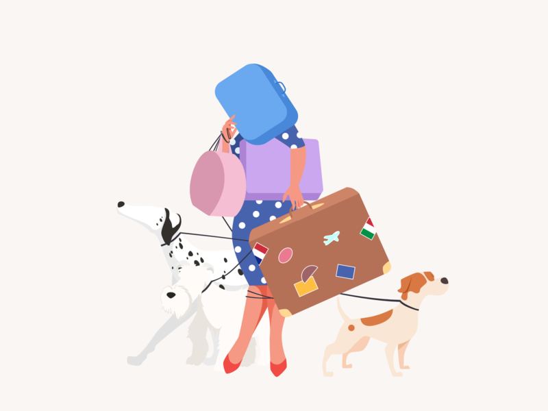 Vacation suitcase travel lady doggy vacation pet dogs character woman illustration