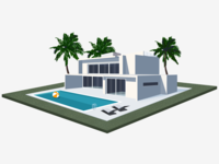 House ball chairs palms pool isometric illustration 3d house illustration