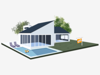 House 2 illustraion 3d chairs pool sold isometric illustration house
