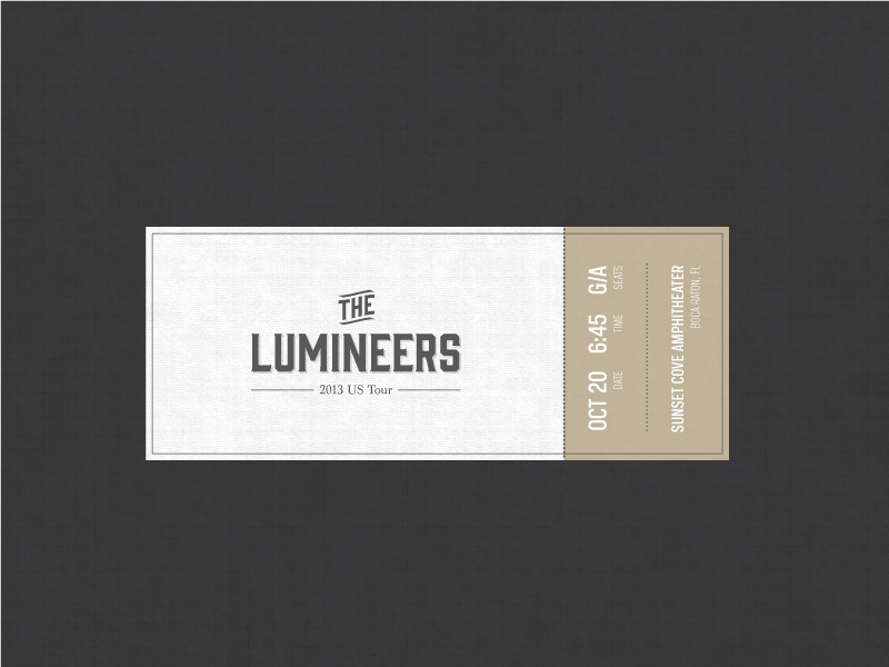 The Lumineers Concert Ticket By Green Sheep Water Dribbble Dribbble
