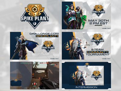 Spike Plant | Tournament Ads spike shooter fps tournament valorant brand design graphic trample live stream twitch screen advertisment ad gaming game esports branding