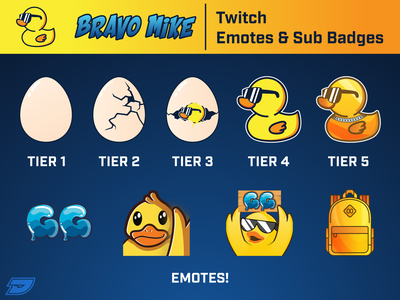 Bravo Mike Twitch Emotes/Sub Badges twitchemotes mixer youtube graphics egg gaming game esports twitter gg backpack badge subscribe duck emote graphic design live stream twitch