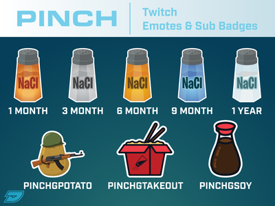 PinchGG Twitch Emotes/Sub Badges takeout soy sauce gun potato shaker salt soy youtube twitch stream livestream live chat emote tier badge subscribe