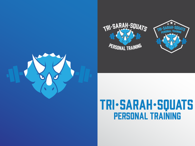 Tri • Sarah • Squats Personal Training weights dumbbell dinosaur squat mascot personal training badge branding logo personal trainer gym triceratops