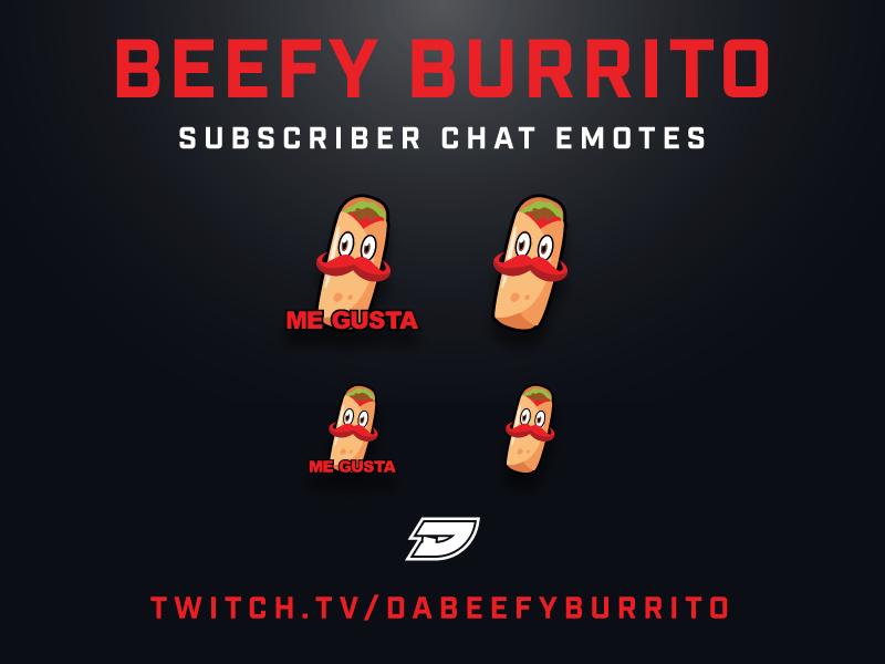 Twitch Sub Chat Emotes - Beefy mexican food mustache meme burrito overlay twitch stream livestream illustation icon emotes emote brandid branding badges