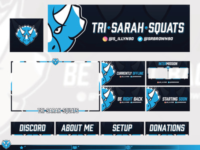 Tri-Sarah-Squats  |  Twitch Branding youtube mixer games facecam ui live esports display panel overlay twitch videogame header game triceratops graphic design stream