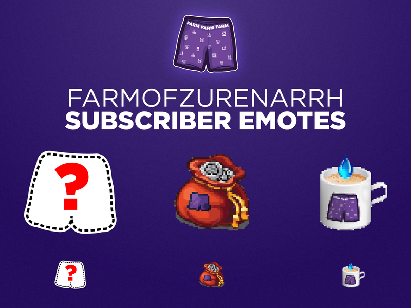 FarmofZurEnArrh | Twitch Emotes water cup gaming game esports satchel purse coin chocolate hot pants chat emote mixer ttv livestream stream live twitch
