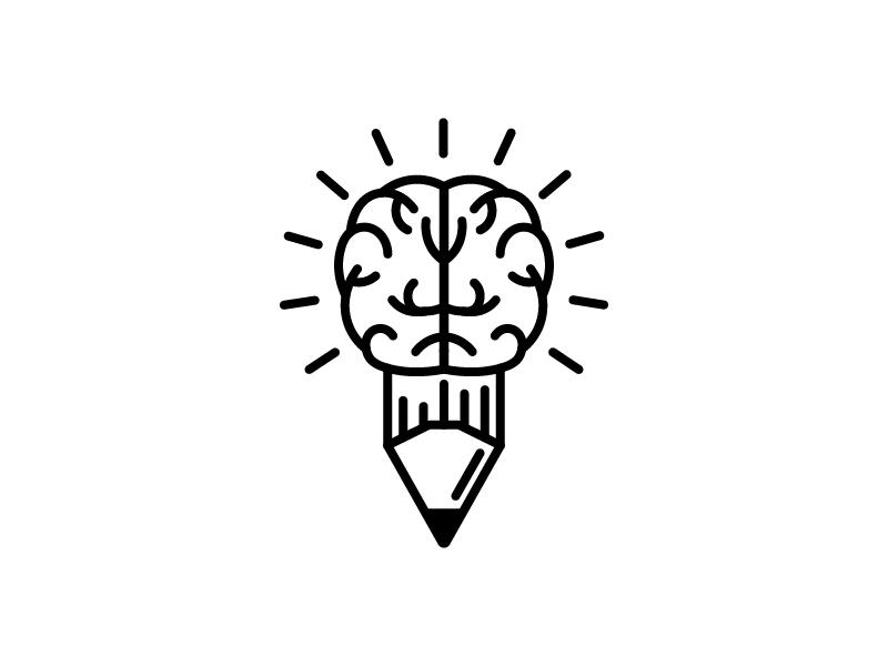 Creative Writer Logo Mark freelance brain pencil creative writer branding logos logo