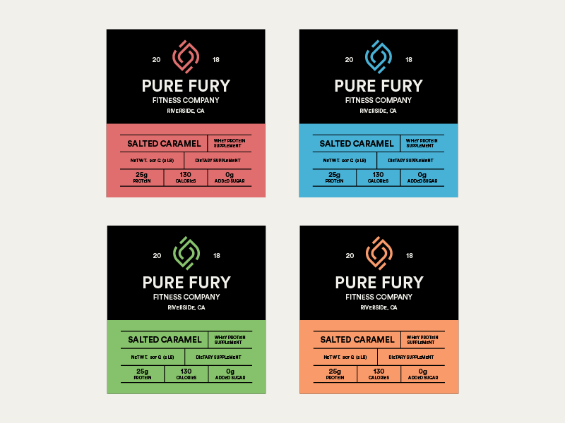 Pure Fury Product Labels by Charles Honig on Dribbble