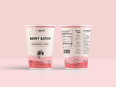 Revive Packaging Design food product superfoods revive overnight oats minimal packaging packaging mockup packaging design illustration packaging minimal modern monoline brand identity brand branding logo