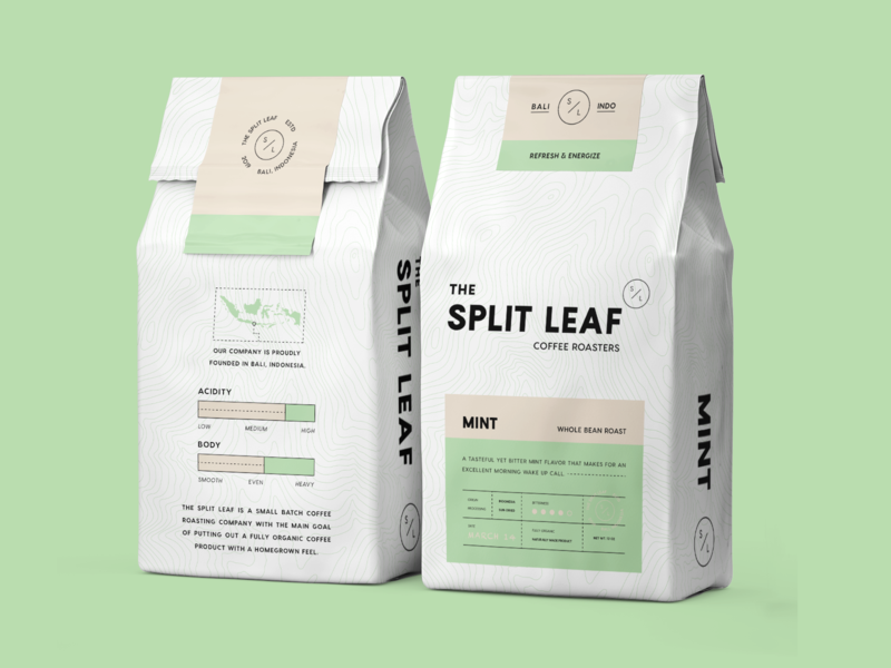 Coffee Packaging split leaf packaging mockup packaging design coffee label coffee packaging coffee packaging minimal modern monoline brand identity brand branding logo