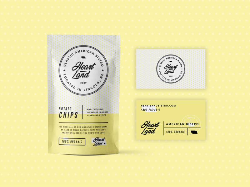 Heartland Packaging badge logos food and drink food product pouch packaging packaging mockup packaging design logo design minimal packaging badge logo modern monoline brand identity brand branding logo
