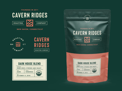 Coffee Branding and Packaging illustration cavern ridges packaging mockups coffee packaging coffee branding coffee packaging design logo design packaging badge logo modern monoline brand identity brand branding logo