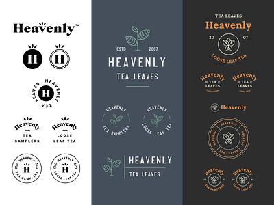 Heavenly Design Directions typography badge logos vector design direction tea branding tea logo heavenly logo design minimal badge logo modern monoline brand identity brand logo branding