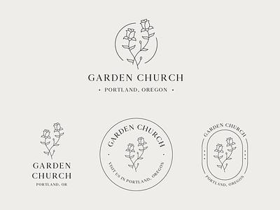 Garden Church Logo & Branding #2 badge typography illustration vector organic plants nature church garden logos logo design minimal badge logo modern monoline brand identity brand logo branding