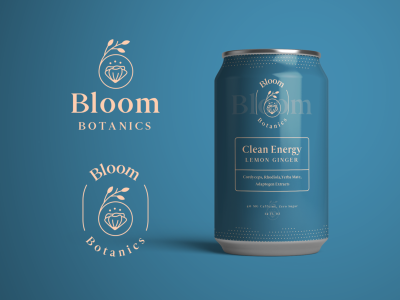 Bloom Botanics Final Branding & Packaging label design nature health drink label can packaging mockup logo design badge logo minimal monoline brand identity brand logo branding modern