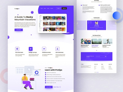 Protips Landing Page colorful layout landing uidesigns colors template design landing page agency website uidesign design creative ui ux clean design color clean layout clean