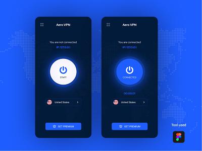 Aero VPN android app design ios vpn app vpn app vpn ux ui uidesign mobile apps mobile app development mobile app design mobile app ios application ios app design creative clean application app design android app