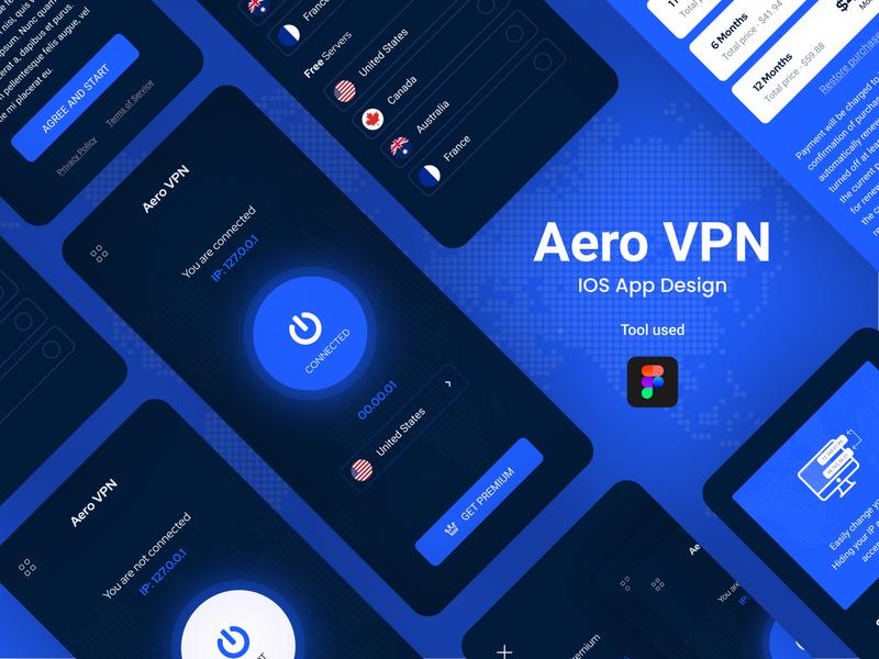 Aero VPN illustration typography vpn app vpn ux uidesign ui mobile apps mobile app development mobile app design mobile app ios application ios app design creative clean application app design android app