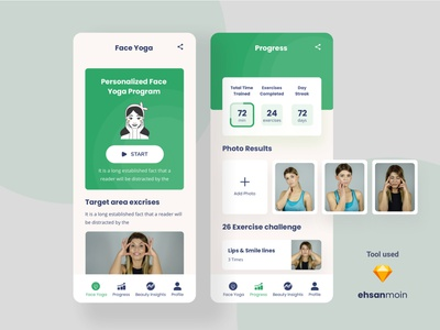 Face Yoga IOS app #03 ios ui app ui app ui design mobile app design ios app development clean app clean app design ios app design app design mobile ui yoga pose yoga app ios app illustration creative ux clean ui