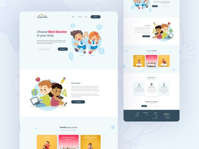 Inspirable - Children Learning Landing Page Concept creative landing page uiux button clean design illustration learning children childrens illustration app design landing page website color uidesign design creative ux clean ui