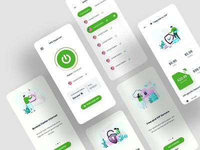 VPN Hypernet ( Light Variation ) ux design ui ux ui designs mobile app design mobile ui vpn app mobile app ios app illustration ui design creative color application clean appdevelopment app designers app designer app design