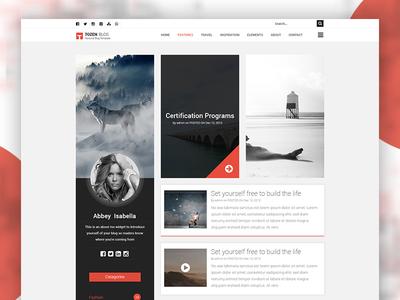 Tozen Homepage 01 blog personal wordpress personal blog clean design home ui