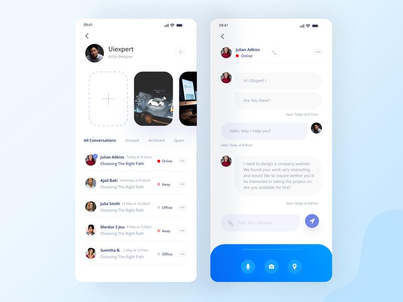 Leaving A Message Ui application ui mobile app design inspiration color creative uidesign minimalistic blue illustration mobile ui app ui clean iso message app mobile app ux ui