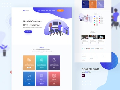 UiExpert Website Home Page [Free Download] service design free psd xd freebie vector branding illustration minimal landing page landing color website uidesign design creative clean