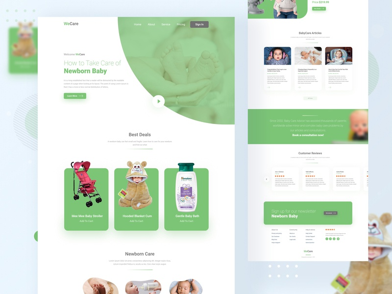 WeCare Website Home Page home page homepage design minimal illustration typography landing design clean creative baby clothes wecare green color agency website uidesign service design homepage ux ui