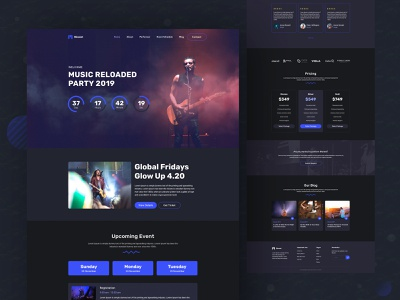Music Event Landing page typography web design music art event landing page event design music music landing page dark ui musician landing page landing website color uidesign creative design ux clean ui