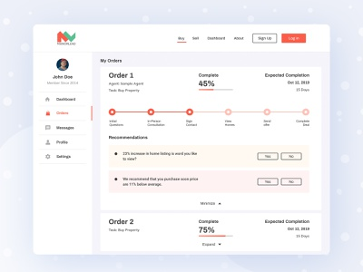 Buy sell properties portal Dashboard (Order Status) order status visual design uiuxdesign uiux uidesign task product design platform interface ecommerce dashboard ui dashboard design dashboard creative clean cart buy agency