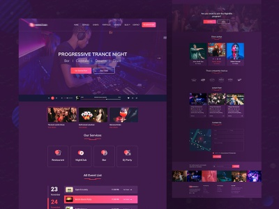 Night Event Landing Page agency website uxdesign uidesign uiux colorful typography clean ui nightlife nightclub music landing page design landing clean design event design design dark ui creative color clean
