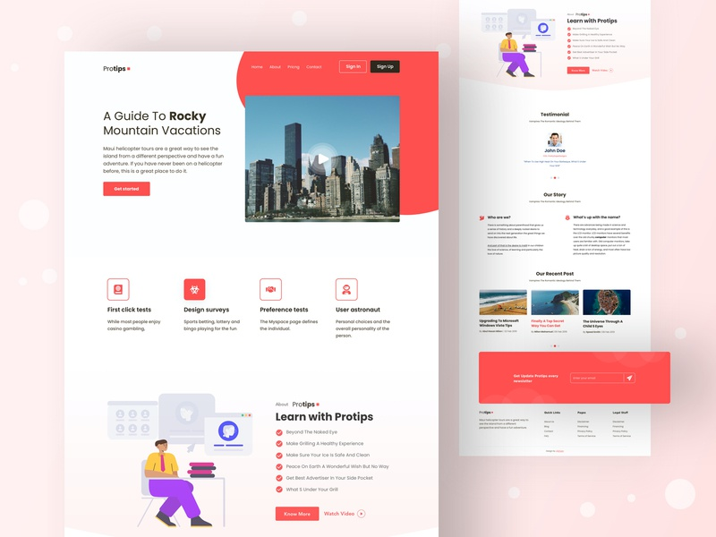 Protips Landing Page [Free Download] layout product template design website design clean layout freebie free sketch free download free download psd landing page landing website color uidesign design creative ux clean ui