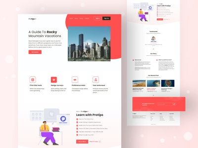 Protips Landing Page layout product template design website design clean layout freebie free sketch free download free download psd landing page landing website color uidesign design creative ux clean ui