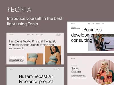 Eonia - Personal Website Template branding agency web grid design clean template grid layout webflow design website