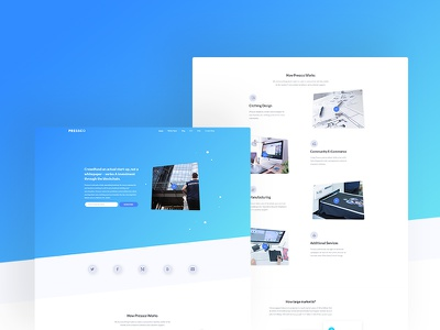 Pressco - Startup Landing Page website web ux user ui page landing gradient experience design clean